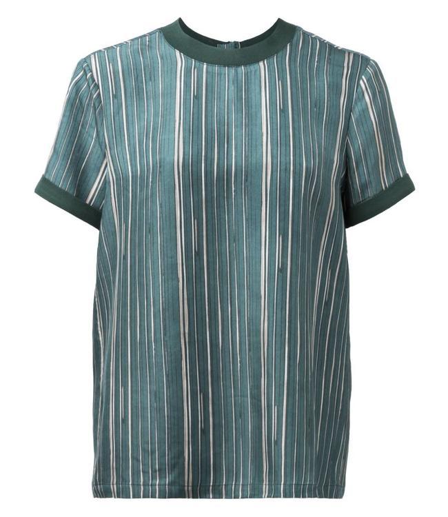 Yaya 190176-822 Woven top stripe print Jade green dessin