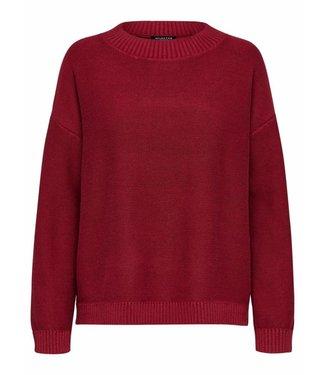 Selected Femme 16061130 SLFMARGARITE ls knitt o-neck Beet red