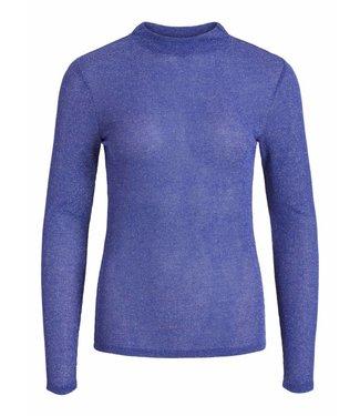 Vila 14049392 Vileja l/s high neck t-shirt Clematis blue