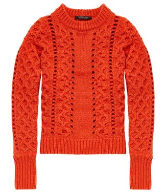 Maison Scotch 146565-2036 Crew neck knit with special cable stitches