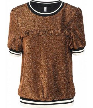 Summum 3s4164-3986 Top short sleeve sparkle jersey 734-camel
