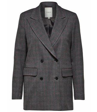 Selected Femme 16064031 SLFMUSU check ls blazer B dark grey melange
