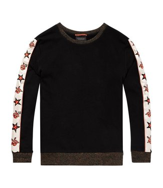 Maison Scotch 146391-08 Crew neck sweat with embroidered woven sleeve