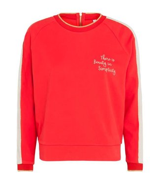 Summum 3s4184-3981 Top long sleeve peached sweat 348-Flame red