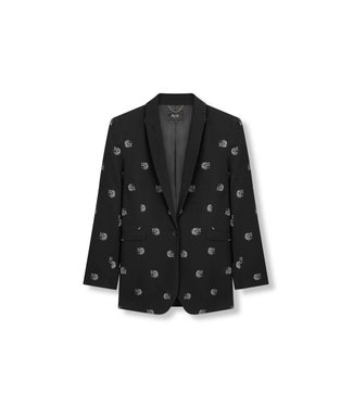 Alix 187404915 Ladies woven dot leopard blazer – Black
