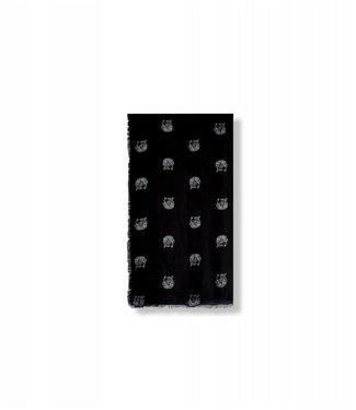 Alix 187003908 Ladies woven dot leopard scarf – Black