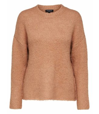 Selected Femme 16063286 Slfregina Ls Knit o-neck Camel