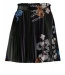 Yaya 140109-824 Flower printed midi plisse skirt with velvet waistband – Black dessin
