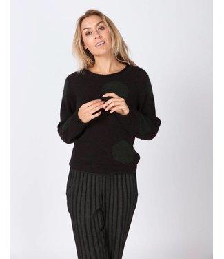 Moscow HW18-12.01 Dotted sweater wool alpaca fancy knit Black / Dark smaragd