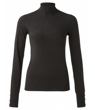 Yaya 100064-824 Classic turtleneck sweater with pearl buttons on cuffs – Black