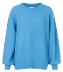 Yaya 100048-824 Knitted sweater with bulky sleeves and fitted cuffs – Blue