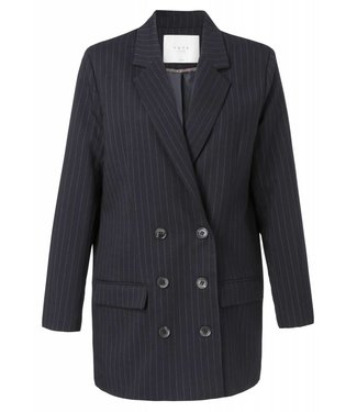 Yaya 150107-824K Double breased blazer with pinstripes and front pockets –Blue
