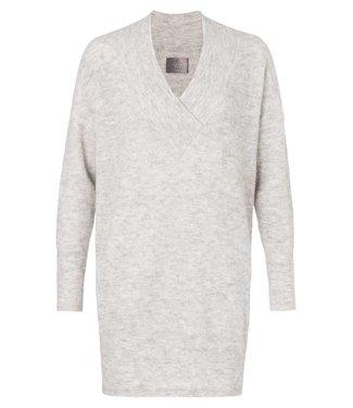 Yaya 180040-824 Rib knit dress whit big v-neck in alpaca & merino wool – Grey