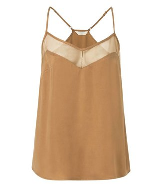 Yaya 190149-824 Top with mesh detail and adjustable shoulder straps – Mystic bronze