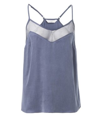 Yaya 190149-824 Top with mesh detail and adjustable shoulder straps – Washed indigo