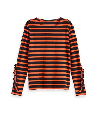 Amsterdams Blauw 147766-19 Classic breton tee with ruffles at the sleeves