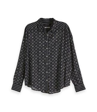 Amsterdams Blauw 147557-18 Allover printed viscose mix shirt