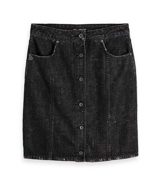 Amsterdams Blauw 148621-0A Black denim pencil skirt high waist