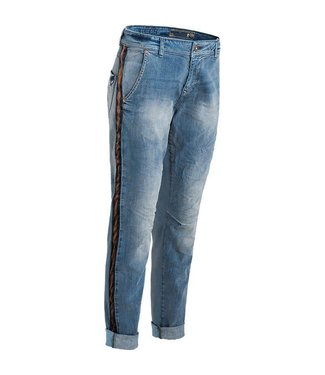Summum 4s1656-10775BD Trousers denim mix with velour tape