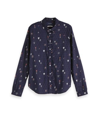 Amsterdams Blauw 147560-18 Cotton dobby shirt with various allover prints