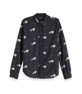 Amsterdams Blauw 147560-22 Cotton dobby shirt with various allover prints