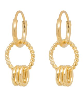 Anna+Nina 18-1M902022GP Rope multi ring earring