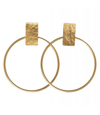 Yaya 133332-911 Hammered brass hoop earrings