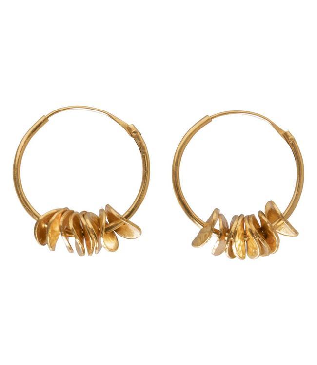 Yaya 133334-911 Brass hoop earrings with coins