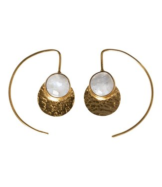Yaya 133337-911 Brass earrings with small stone