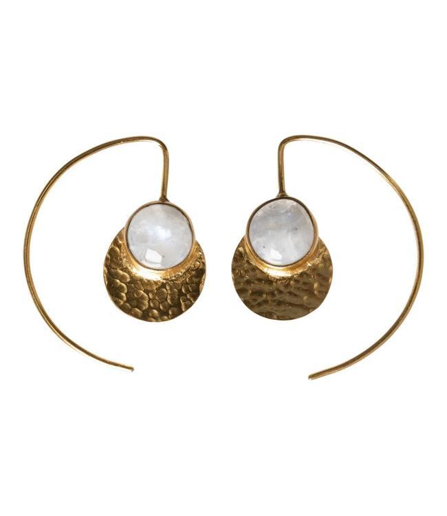 Yaya 133337-911 Brass earrings with small stone