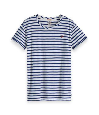 Amsterdams Blauw 147586-17 Striped S/S tee whith placement embroidery