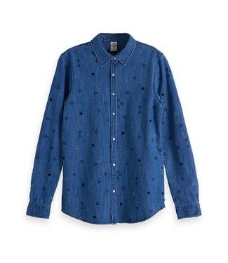 Amsterdams Blauw 147758-18 Denim allover embroidered western shirt