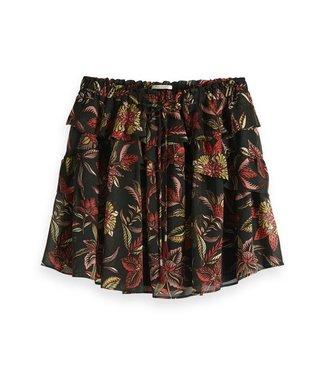Maison Scotch 149921 Printed skirt with ruffles