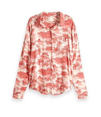 Maison Scotch 151173 Relaxed fit drop shoulder cotton viscose button up shirt