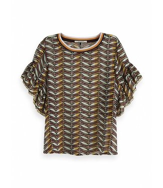 Maison Scotch 149806 Mixed print top with ruffled sleeve