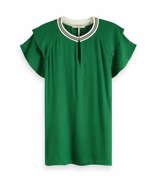 Maison Scotch 149820 Rayon top with sporty rib and ruffle sleeves