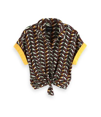 Maison Scotch 149879 Short sleeve button up shitr whith knot detail