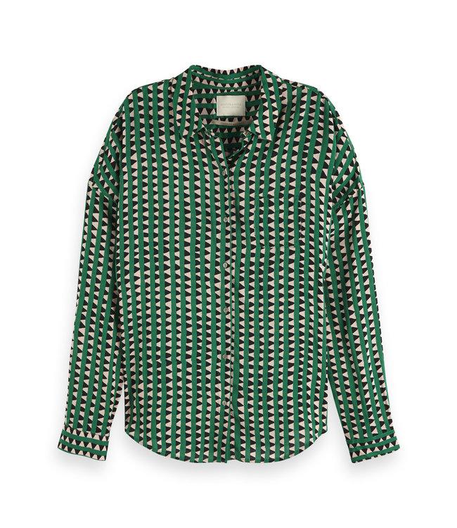 Maison Scotch 149789 Oversized boxy fit cotton viscose shirt in various prints