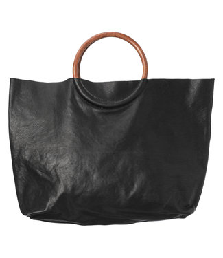 Yaya 131313-913 Leather shopper with wooden handle