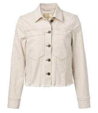 Yaya 151108-913 Colored denim jacket with frayed hem