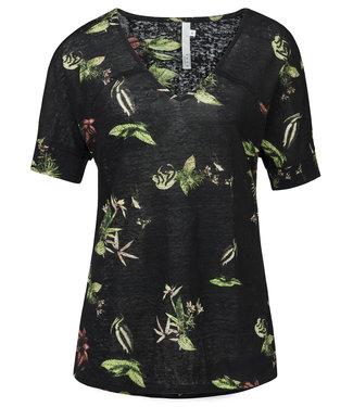 Yaya 191950-913 Linen V-neck T-shirt with wild animal flower print