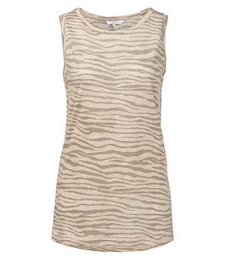 Yaya 1909163-913 Sleeveless linen mix top with zebra print