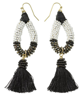 Yaya 133324-913 Earrings with beads ands tassel