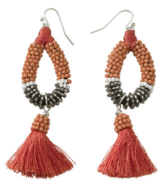 Yaya 133324-913 Earrings with beads ands tassel.