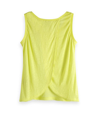 Maison Scotch 150233 Linen tank top with crossover backpanel and tapes