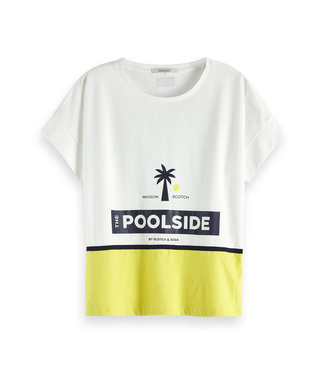 Maison Scotch 150206 Oversized tee with poolside artworks
