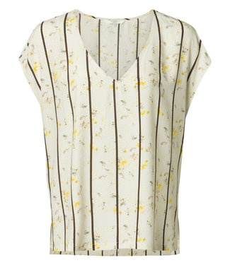 Yaya 1901144-914 V-neck top with flower and stripes print