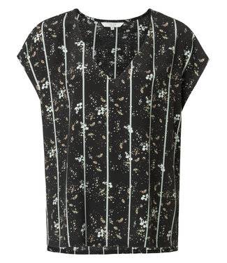 Yaya 1901144-914. V-neck top with flower and stripes print