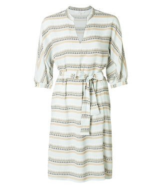 Yaya 180199-915 Dress with Aztec-inspired print and tie belt