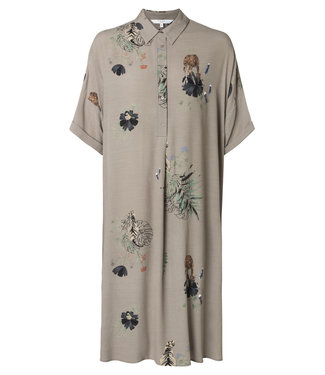 Yaya 1801105-915 Blouse dress with animal print